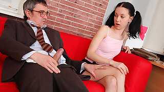 TrickyOldTeacher - Horny student sucks patriarch teachers cock and rides cock till he cums